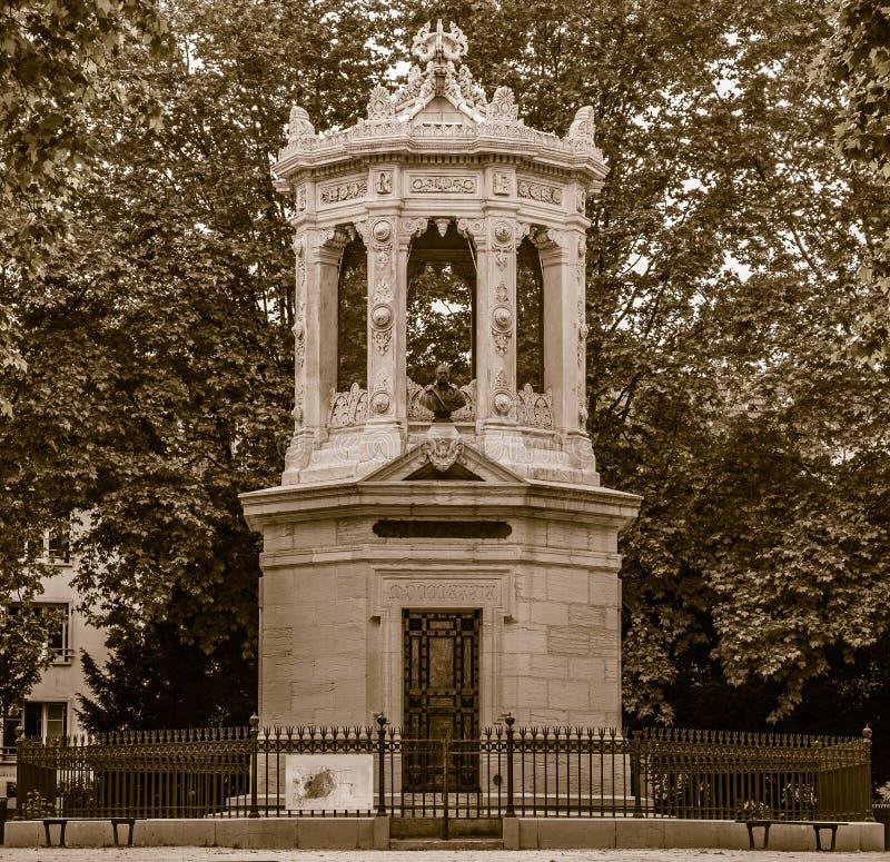Памятник к Henri Darcy, влиянию sephia стоковые фотографии rf