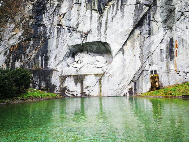 Памятник льва в Люцерне, Швейцарии стоковое изображение rf