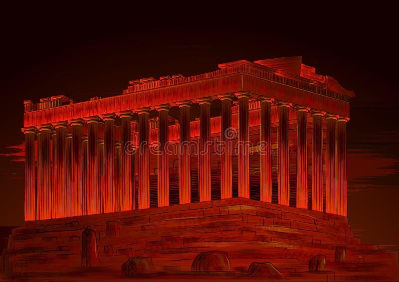 Памятник мира Парфенона известный исторический афинского акрополя, Греции иллюстрация вектора