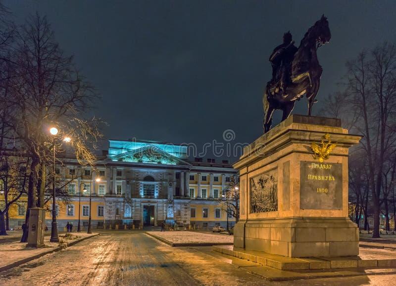 Памятник Петра I перед замком St Michael стоковое фото
