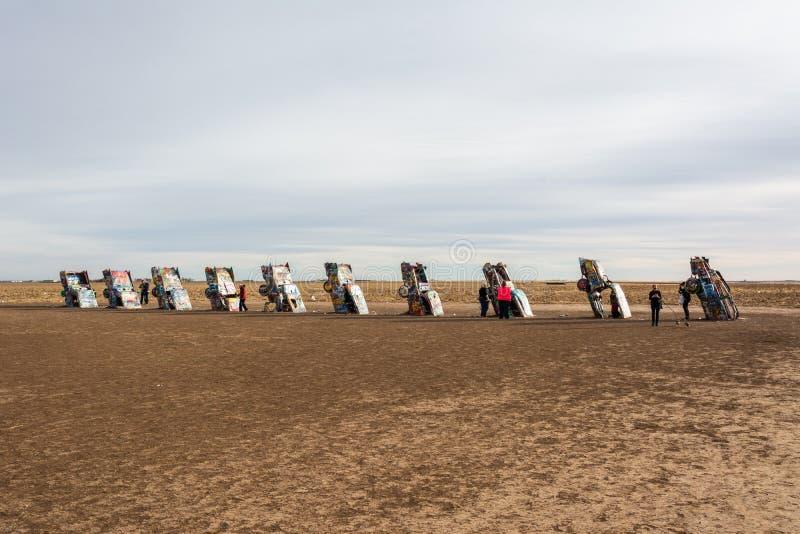 Памятник ранчо Кадиллака в Амарилло, TX стоковое фото