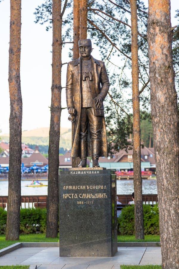 Памятник сербскому генералу, герой сражения Kaymakchalan, Zlatibor, Сербия стоковое изображение