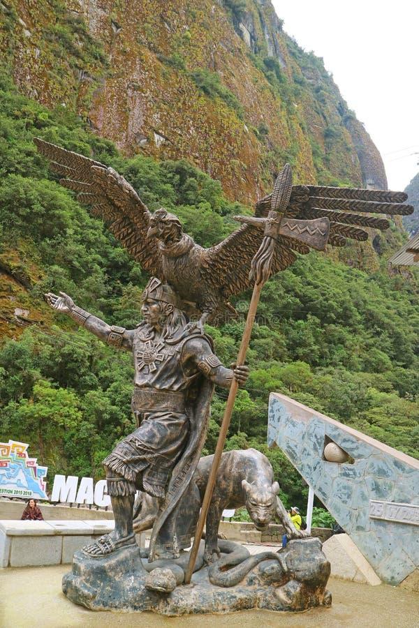 Памятник трилогии Inca космологической на Aguas Calientes или Пуэбло Machupicchu, Перу стоковые фото