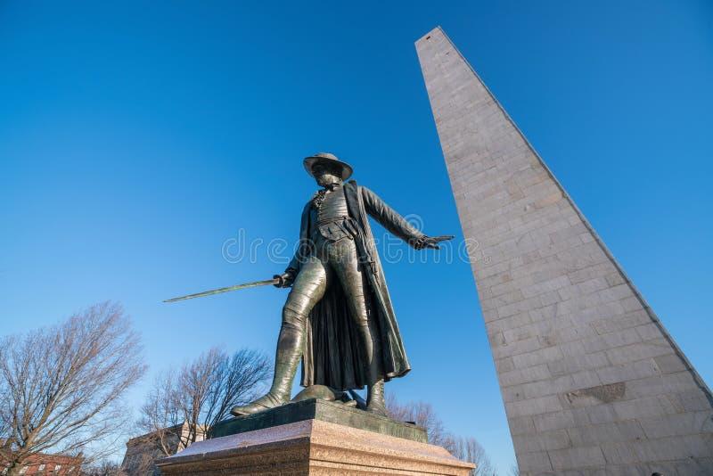 Памятник холма бункера в Бостоне, Massachusettsin стоковое фото