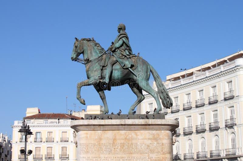 Памятник Чарльзу III в Мадриде стоковое изображение