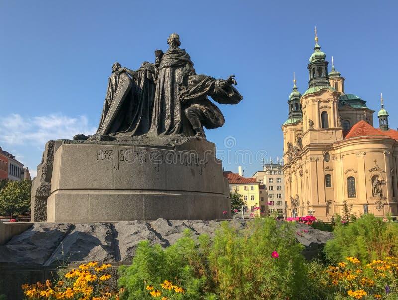 Памятник января Hus, Прага, Чехословакия стоковая фотография rf