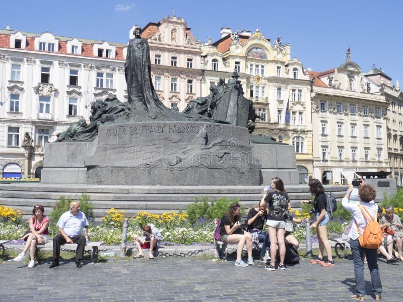 Памятник января Hus, Прага стоковое фото rf