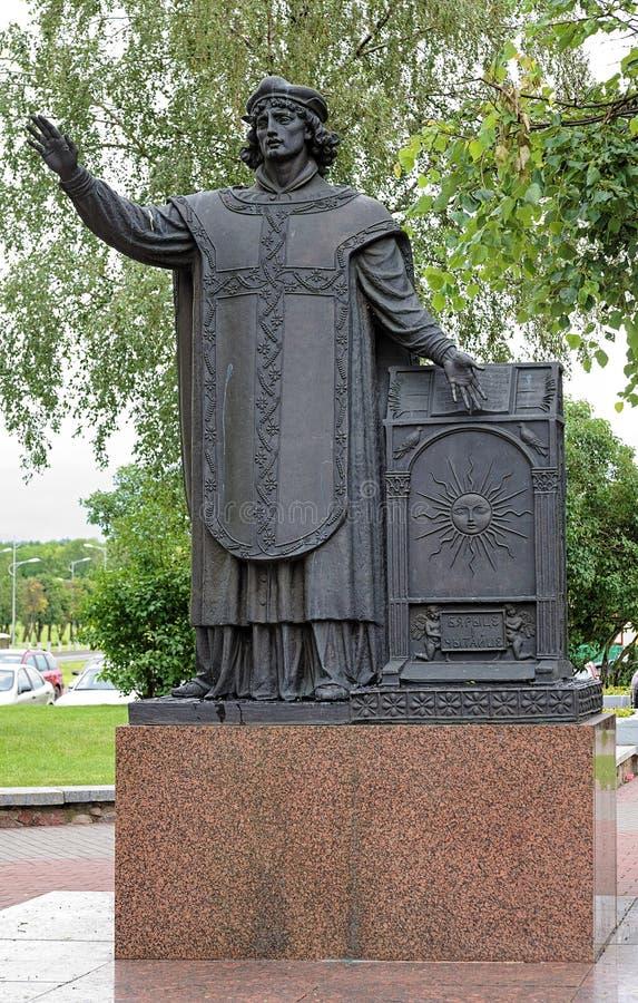 Памятник Francysk Skaryna в Lida, Беларуси стоковые изображения