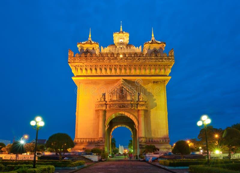 Памятник Patuxai, Вьентьян, Лаос. стоковое фото rf