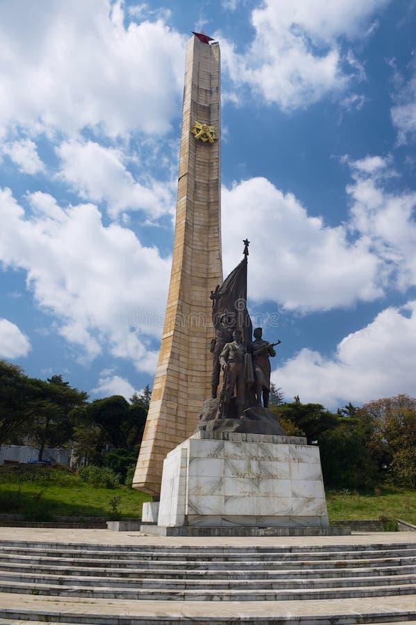 Памятник Tiglachin или мемориал Derg для советских и кубинських солдат, который включили в войну Ogaden в Аддис-Абеба, Эфиопии стоковые фото