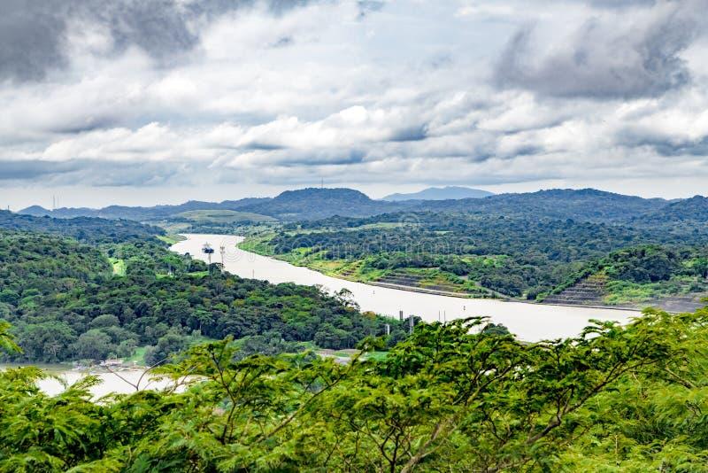 Панамский Канал и озеро Gatun, вид с воздуха стоковые фотографии rf