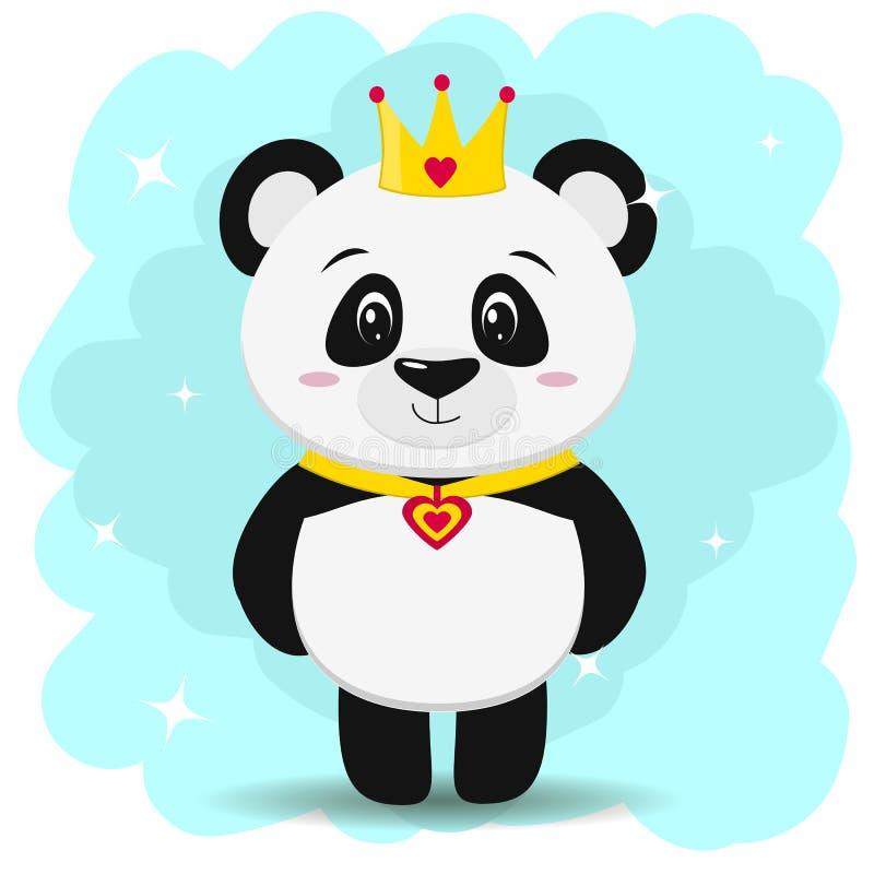 Панда в кроне и шкентеле в форме прибоя, в стиле шаржа стоит иллюстрация вектора
