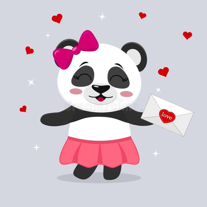 Панда в юбке и с розовым смычком держит письмо в лапках, в стиле шаржей бесплатная иллюстрация