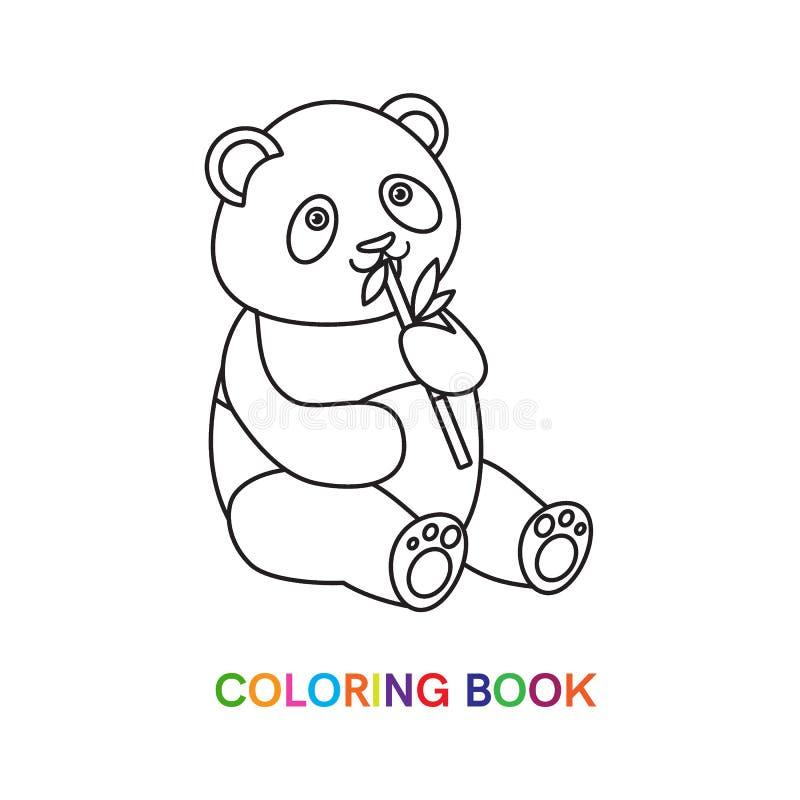 Панда для книжка-раскраски с бамбуком иллюстрация штока