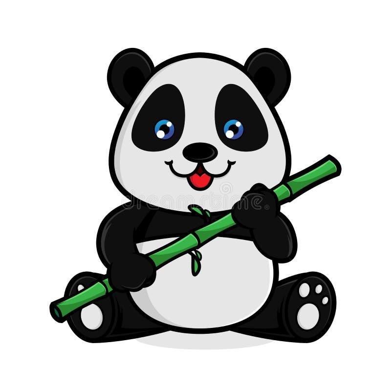 Панда ест бамбук бесплатная иллюстрация