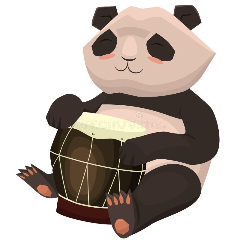 Панда играет барабанчик Изображение мультфильма изолированное на белой предпосылке o бесплатная иллюстрация