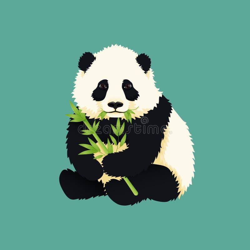 Панда младенца гигантская держа и жуя зеленые бамбуковые ветви и листья Черно-белый китайский новичок медведя бесплатная иллюстрация