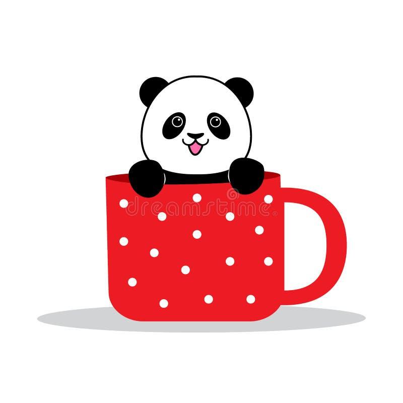 Панда сидит в кружке бесплатная иллюстрация