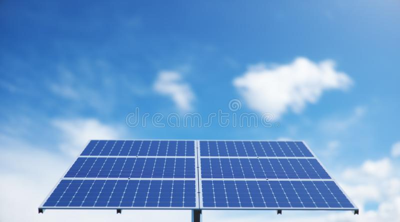 панели солнечных батарей иллюстрации 3D в море или океане r r Экологический, чистый стоковые фото
