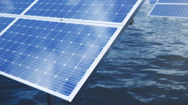 панели солнечных батарей иллюстрации 3D в море или океане r r Экологический, чистый стоковые изображения