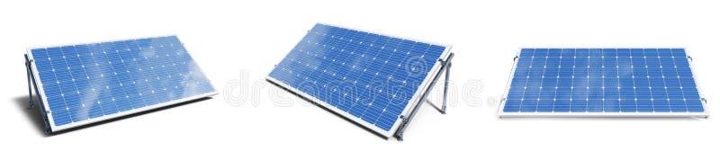 панели солнечных батарей иллюстрации 3D изолированные на белой предпосылке Установленные панели солнечных батарей с небом отражен стоковая фотография