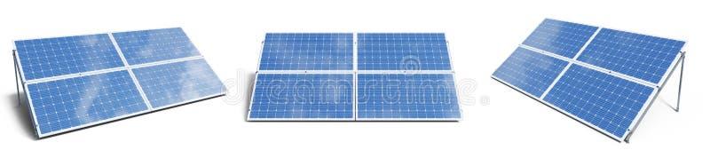 панели солнечных батарей иллюстрации 3D изолированные на белой предпосылке Установленные панели солнечных батарей с небом отражен стоковые фото