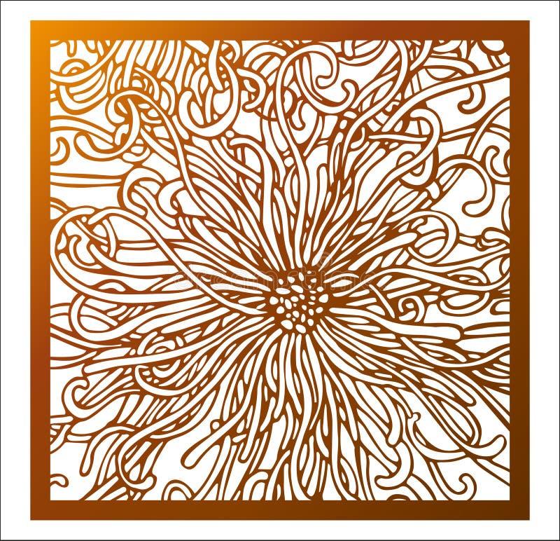 Панель квадрата вырезывания лазера Openwork цветочный узор с фантастическим цветком воодушевлен тропической природой Улучшите для иллюстрация вектора
