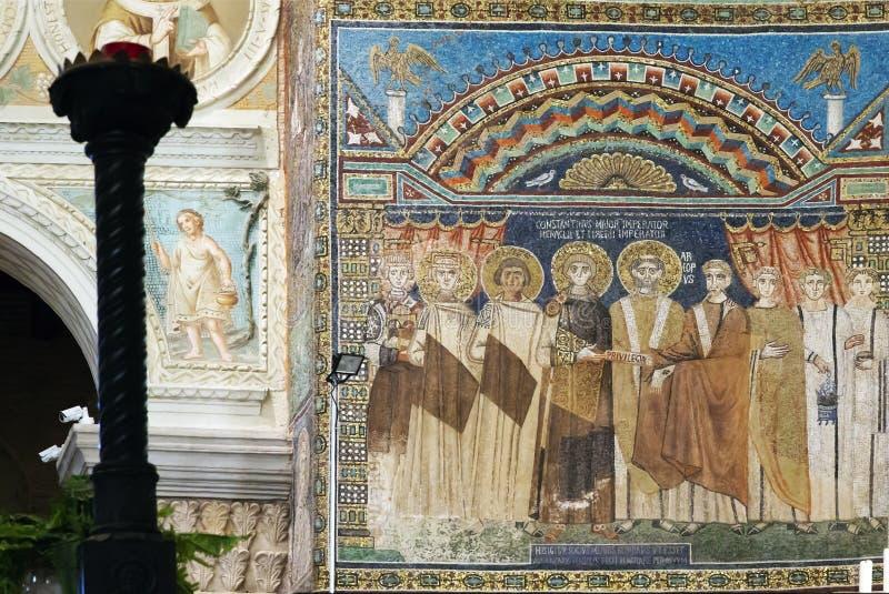 Панель мозаики Константина IV в ` Apollinare Sant в Classe стоковое фото rf