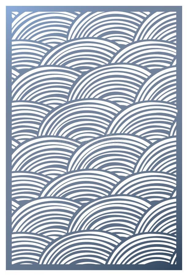 Панель отрезка лазера вектора Шаблон картины для декоративной панели Панели или раздел стены Зигзаг умирает орнаменты отрезка Кру иллюстрация вектора