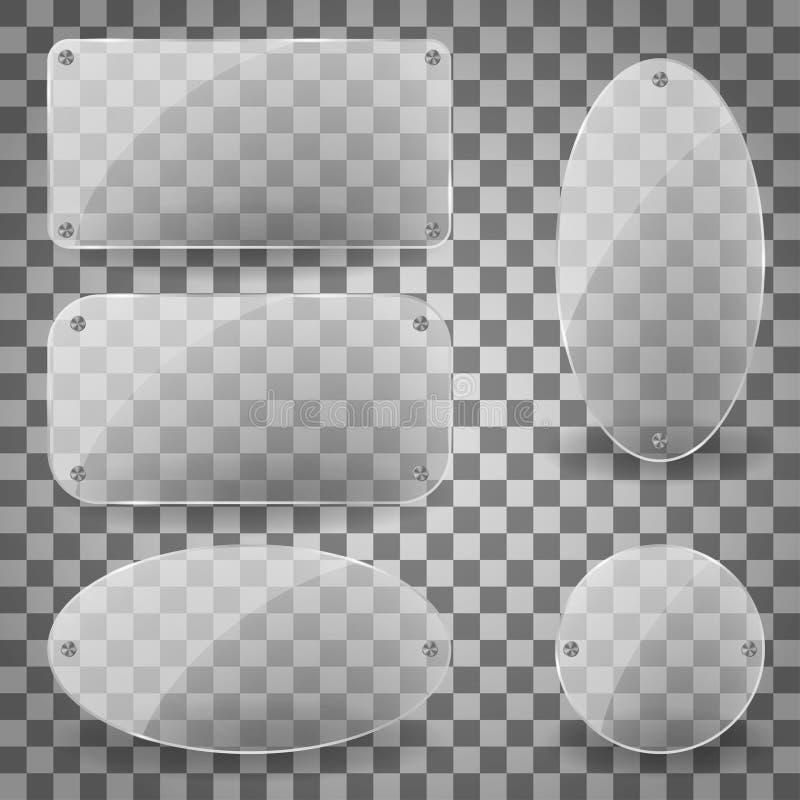 Панель прозрачной слепимости прямоугольника стеклянная с стальными заклепками Комплект прозрачных стеклянных пластинок слепимости бесплатная иллюстрация