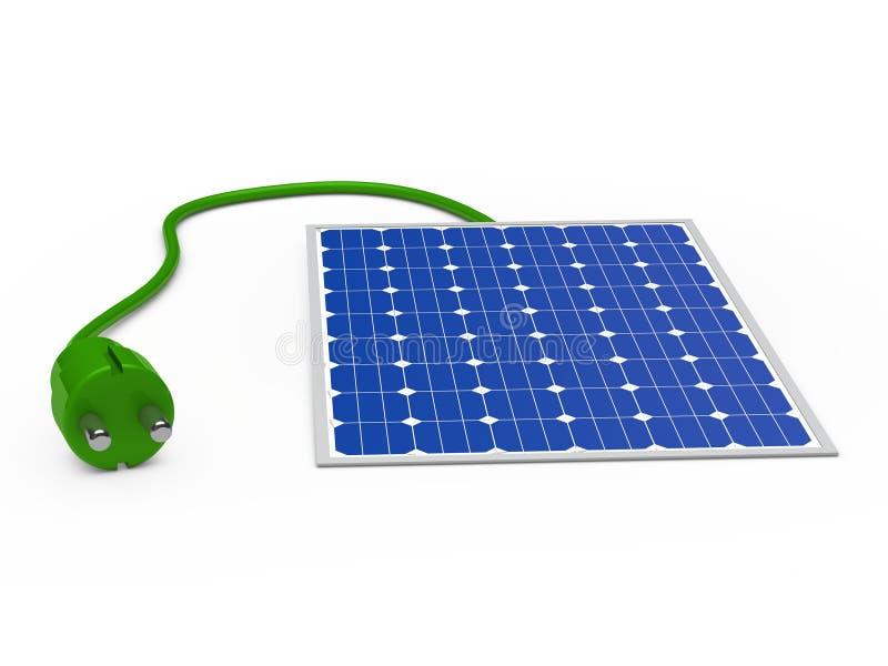 панель солнечных батарей 3d с зеленой штепсельной вилкой иллюстрация вектора