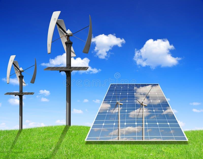 Панели и ветротурбины солнечной энергии стоковое изображение rf