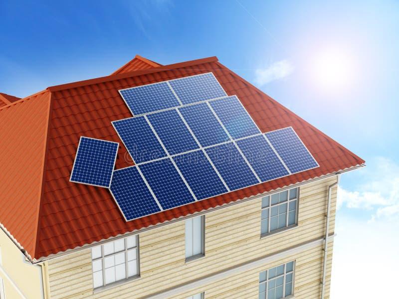 Панели солнечных батарей будучи устанавливанным на крышу здания иллюстрация 3d иллюстрация штока