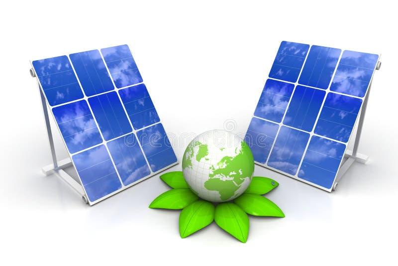 Панели солнечных батарей с зеленым миром бесплатная иллюстрация