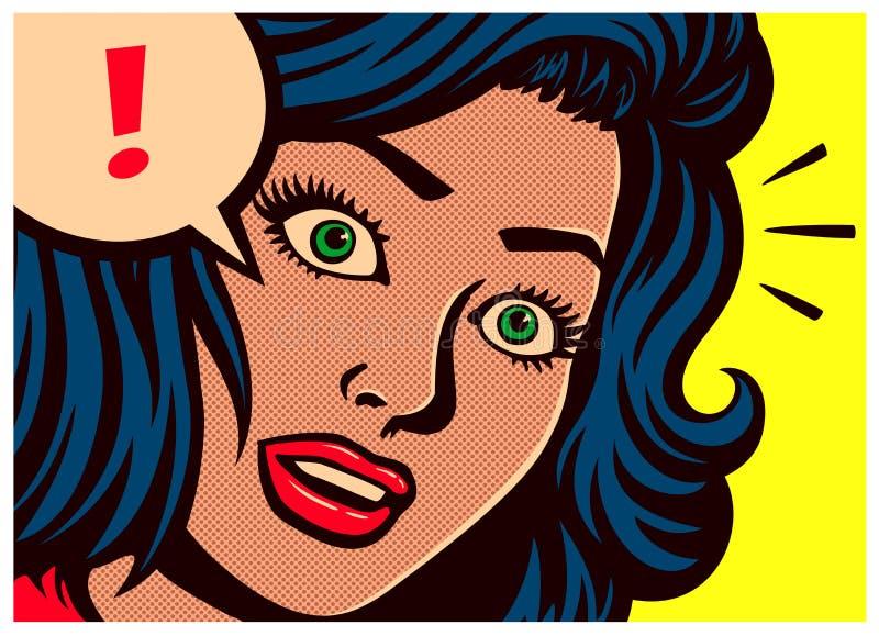 Панель комиксов стиля искусства шипучки с удивленным пузырем женщины и речи с иллюстрацией вектора восклицательного знака иллюстрация вектора