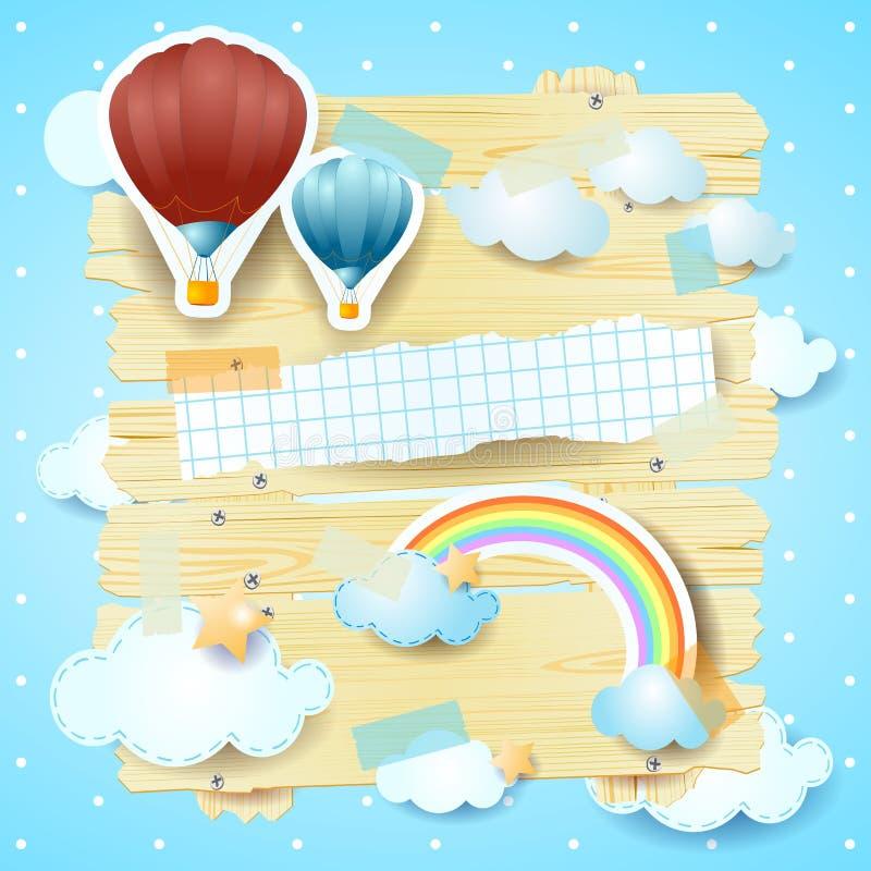Панель фантазии с горячими воздушными шарами и космосом экземпляра иллюстрация вектора