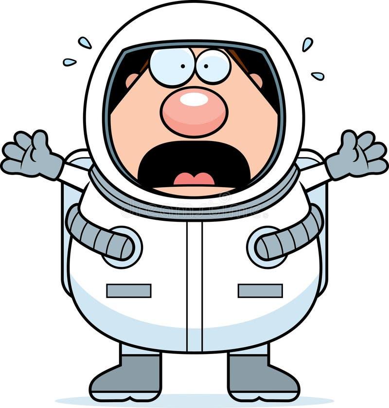 Паника астронавта шаржа иллюстрация вектора