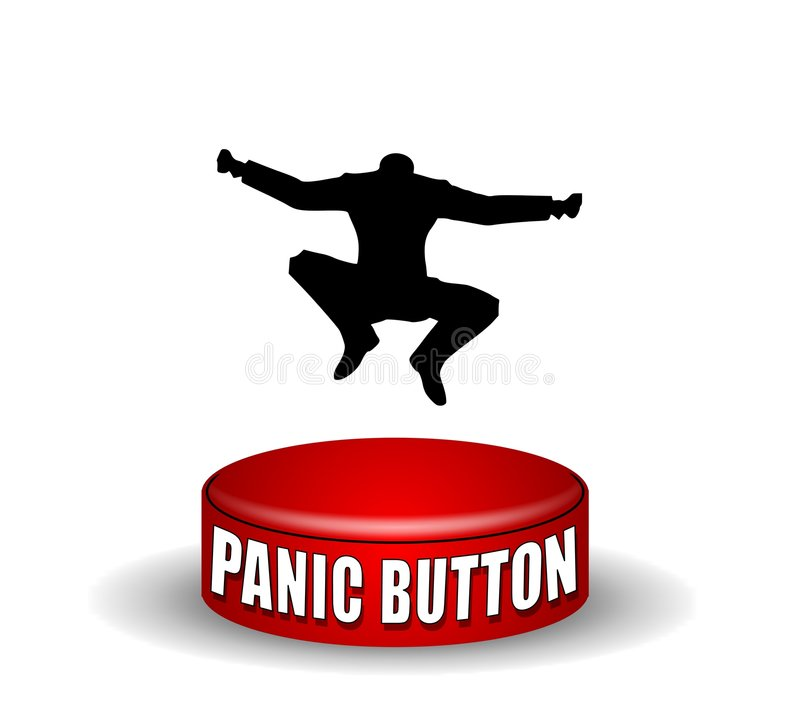 паника кнопки скача иллюстрация вектора