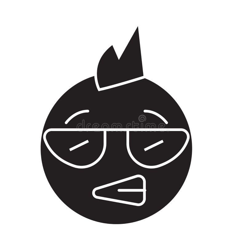 Панковский значок концепции вектора черноты emoji Иллюстрация панковского emoji плоская, знак бесплатная иллюстрация