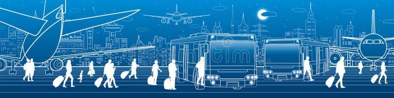 Панорама авиапорта Пассажиры входят в и выходят к шине Инфраструктура транспорта перемещения авиации Самолет на взлётно-посадочна иллюстрация штока