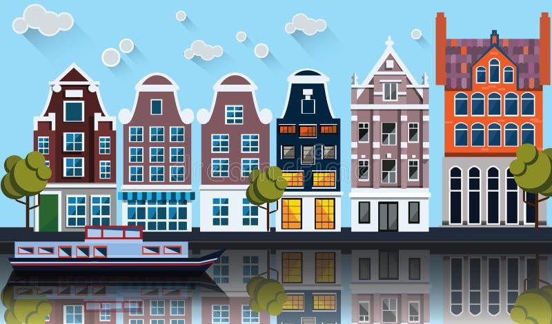 Панорама Амстердама Канал, шлюпка, дома иллюстрация вектора