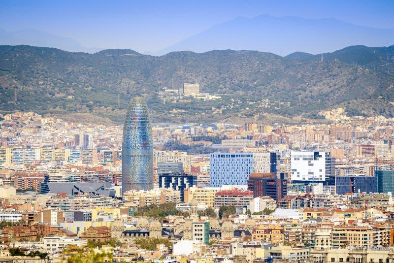 Панорама Барселоны с башней Agbar, Каталонией, Испанией стоковая фотография rf
