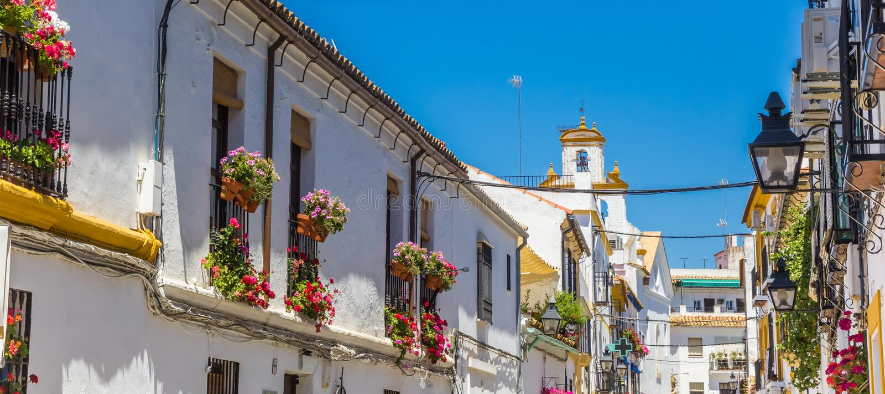 Панорама белых и желтых домов в Cordoba стоковое изображение rf