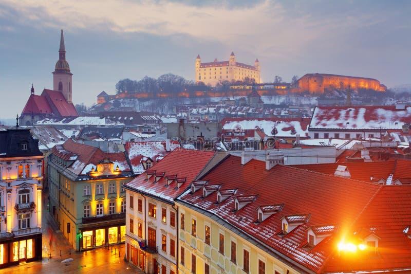 Панорама Братиславы - город Словакии - Восточной Европы стоковая фотография rf