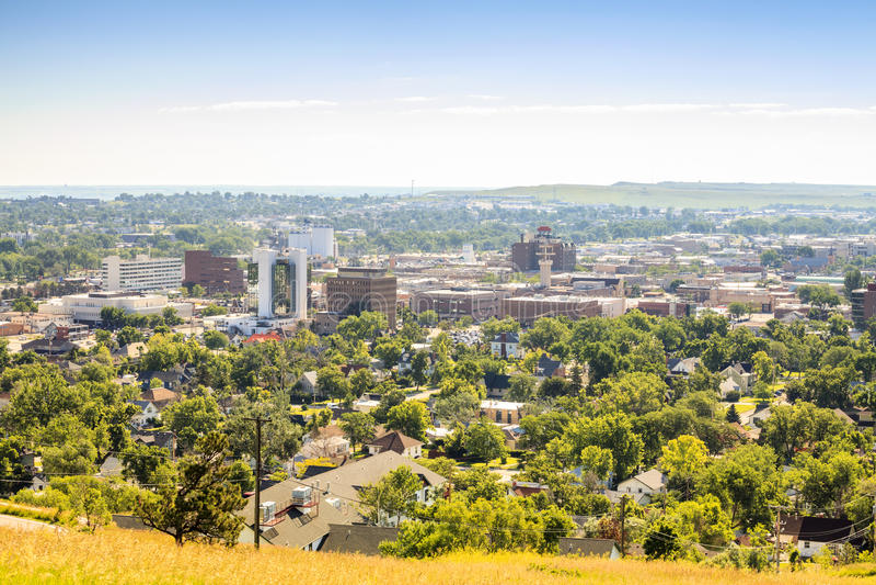 Панорама быстрого города, Южной Дакоты стоковая фотография