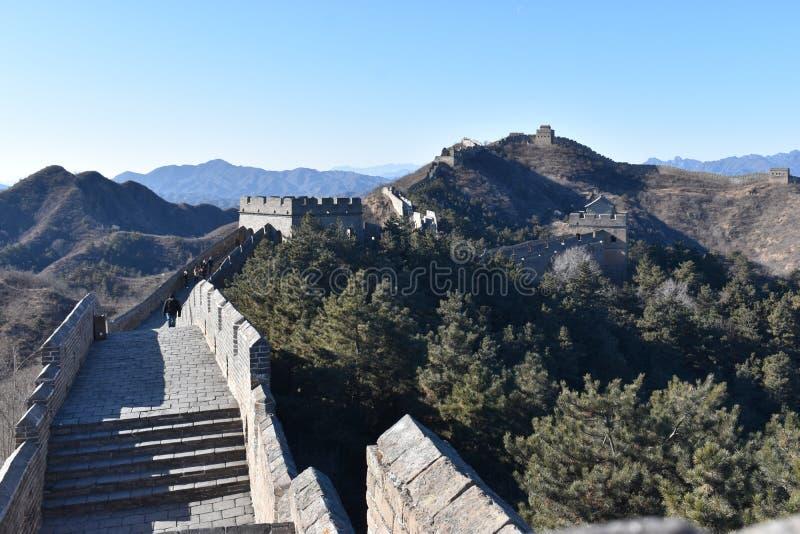 Панорама Великой Китайской Стены в Jinshanling в зиме около Пекин в Китае стоковое фото rf