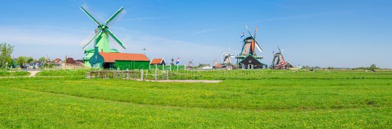 Панорама ветрянок в под открытым небом музее Zaanse Schans, Netherla стоковое изображение