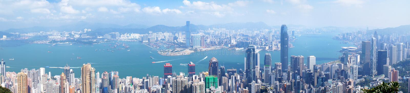 Панорама вида с воздуха Гонконга стоковое изображение rf