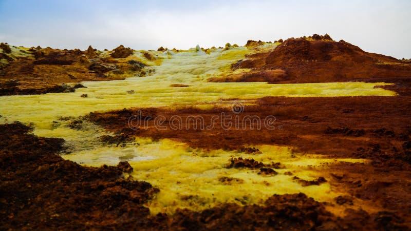 Панорама внутри кратера Dallol вулканического в депрессии Danakil, Afar Эфиопии стоковое фото rf