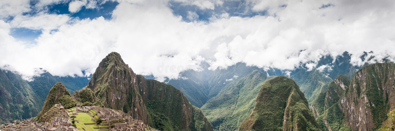 Панорама всемирное наследие ЮНЕСКО Перу Machu Picchu, Южной Америки стоковая фотография